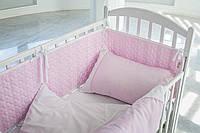 Детское постельное белье  с кружевом , САТИН 100%, розовый