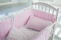Сатиновая постель с кружевом для новорожденного, розовая