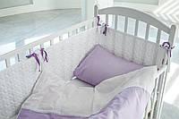 Детская постель с кружевом в кроватку, сиреневая, Сатин 100%