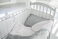Детское постельное белье  с кружевом , САТИН 100%, серый