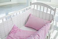 Детское постельное белье  с вышитым вензелем  САТИН 100%, розово-белый