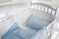 Детское постельное белье  с вышитым вензелем  САТИН 100%, голубо-белый