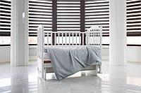 Детское постельное белье  с вышитым вензелем  САТИН 100%, серо-белый