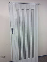 Дверь гармошка межкомнатная остекленная, белый ясень 610, зеркальное покрытие, 860х2030х12мм