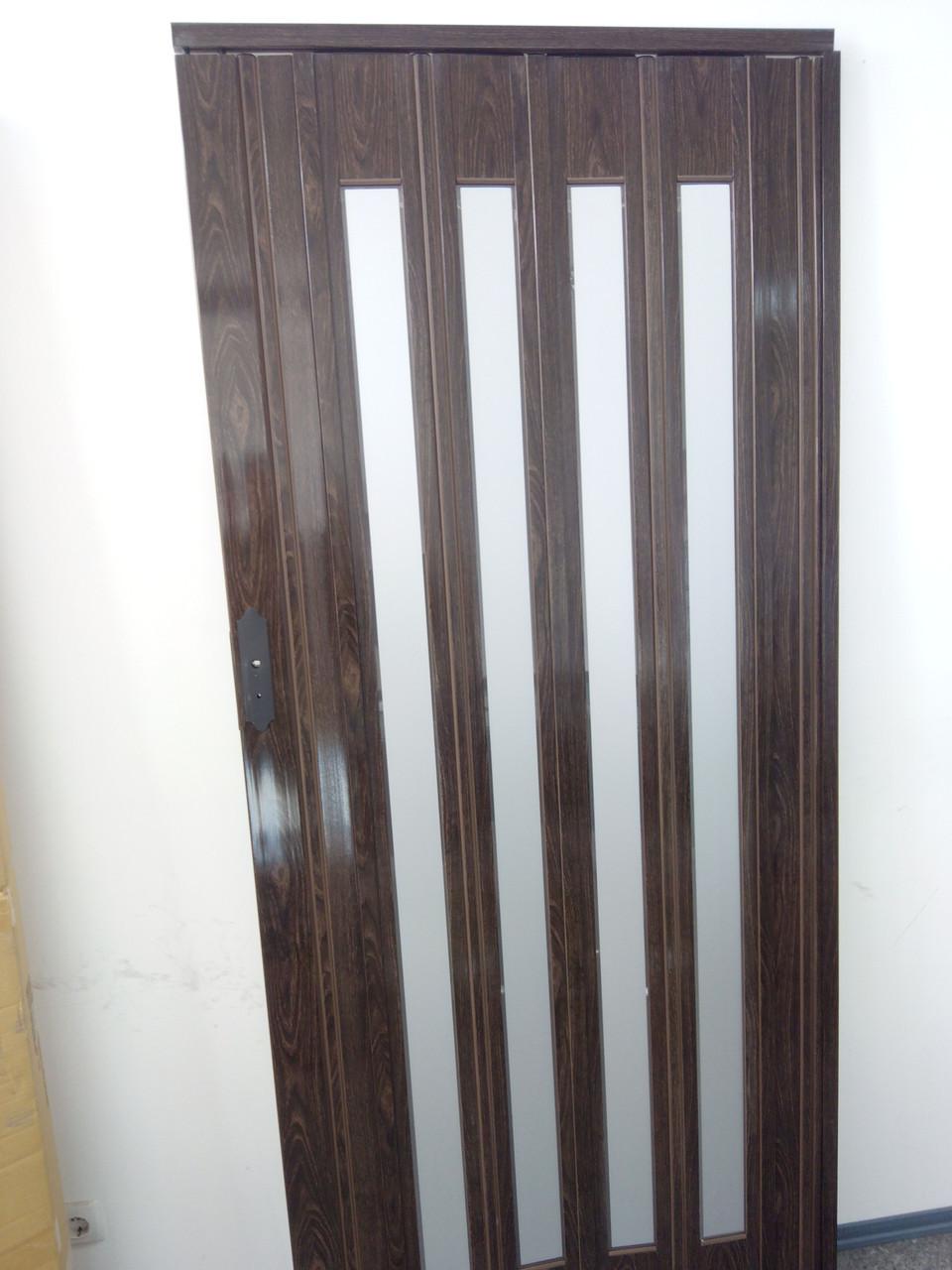 Дверь гармошка межкомнатная остекленная, орех 7103, зеркальное покрытие, 860х2030х12 мм