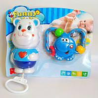 Набор.Музыкальная заводная развивающая игрушка для малышей Мишка + погремушка слоненок 25х20х4см