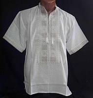 """Вышиванка мужская, """"Квадраты"""" с коротким рукавом, домотканное полотно ,р-ры: 44-60, 420/450 грн."""