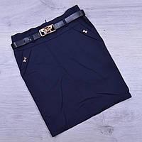 Юбка школьная Fujiayi для девочек. #866. Размеры 21-26. Синяя. Школьная форма оптом