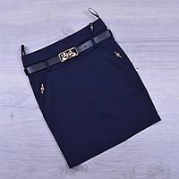 Юбка школьная Fujiayi для девочек. #701. Размеры 21-26. Синяя. Школьная форма оптом