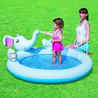 Надувной качественный бассеин слоник детский с хобота льется вода