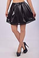 Стильная юбка - колокол из экокожи с кружевом (взрослые и детские размеры)