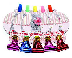 """Язычок гудок карнавальный """"Тедди розовый"""". В упак: 5 шт."""