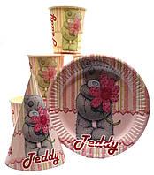 """Набор """"Тедди розовый"""". Тарелки (18см) -10шт. Стаканчики (250мл) -10шт. Колпачки (16см) -10шт."""