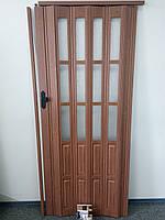 Дверь гармошка межкомнатная полуостекленная, вишня 806, 860х2030х10мм