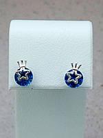 Серебряные серьги гвоздики с короной