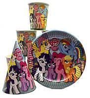 "Набор ""Little Pony"". Тарелки (18см) -10шт. Стаканчики (250мл) -10шт. Колпачки (16см) -10шт."