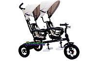 Детский трехколесный велосипед для двойни Crosser Twins бежевый