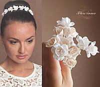 """Шпильки для волос с цветами """"Фрезии""""(белые+айвори) Комплект10 шт, фото 1"""