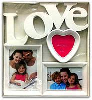 Фоторамка коллаж белая на 3 фото Love