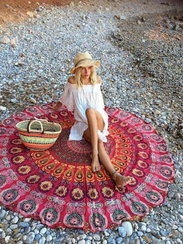 Пляжный коврик Мандала. 150 см Красная