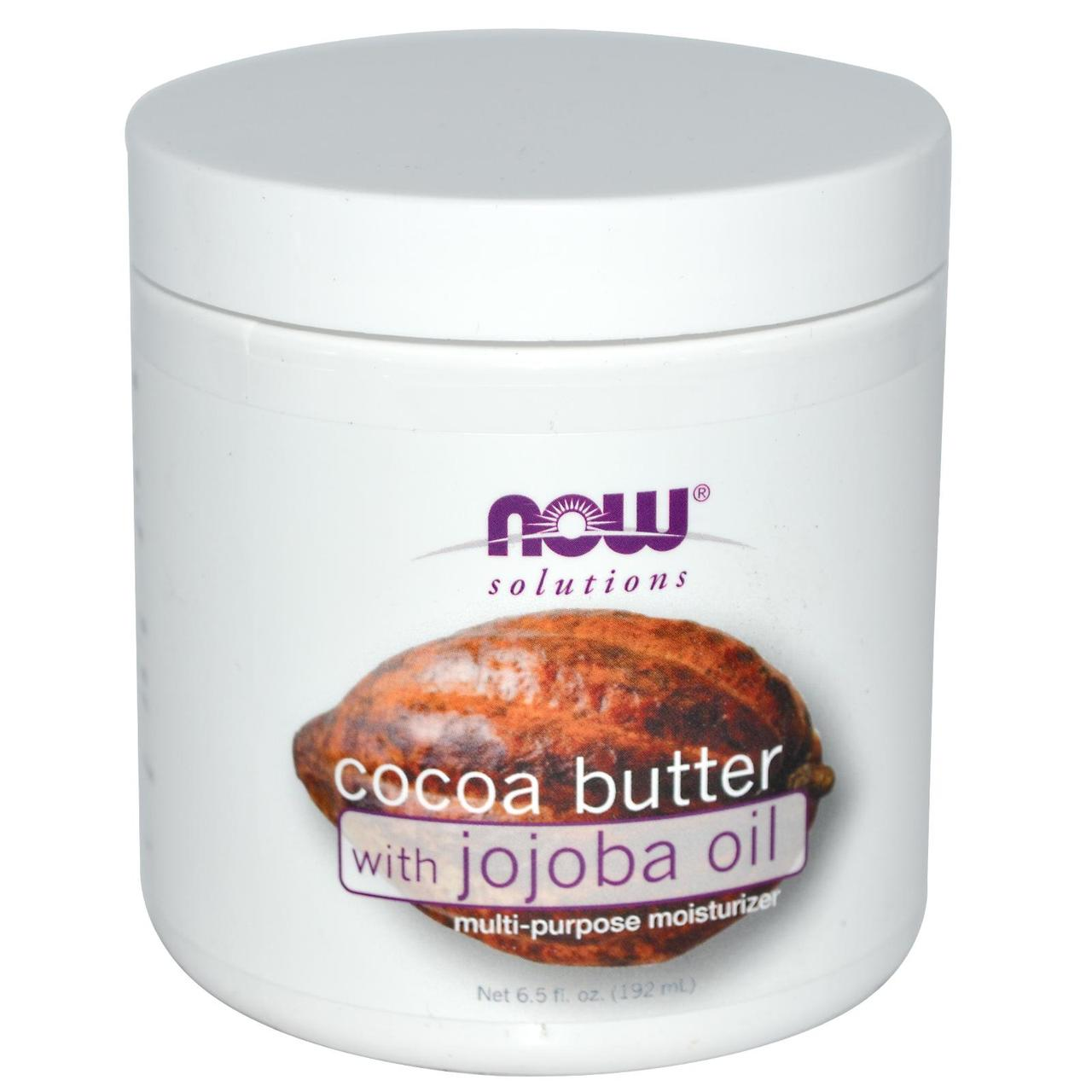 Какао масло с маслом жожоба Now Foods Solutions Cocoa Butter,