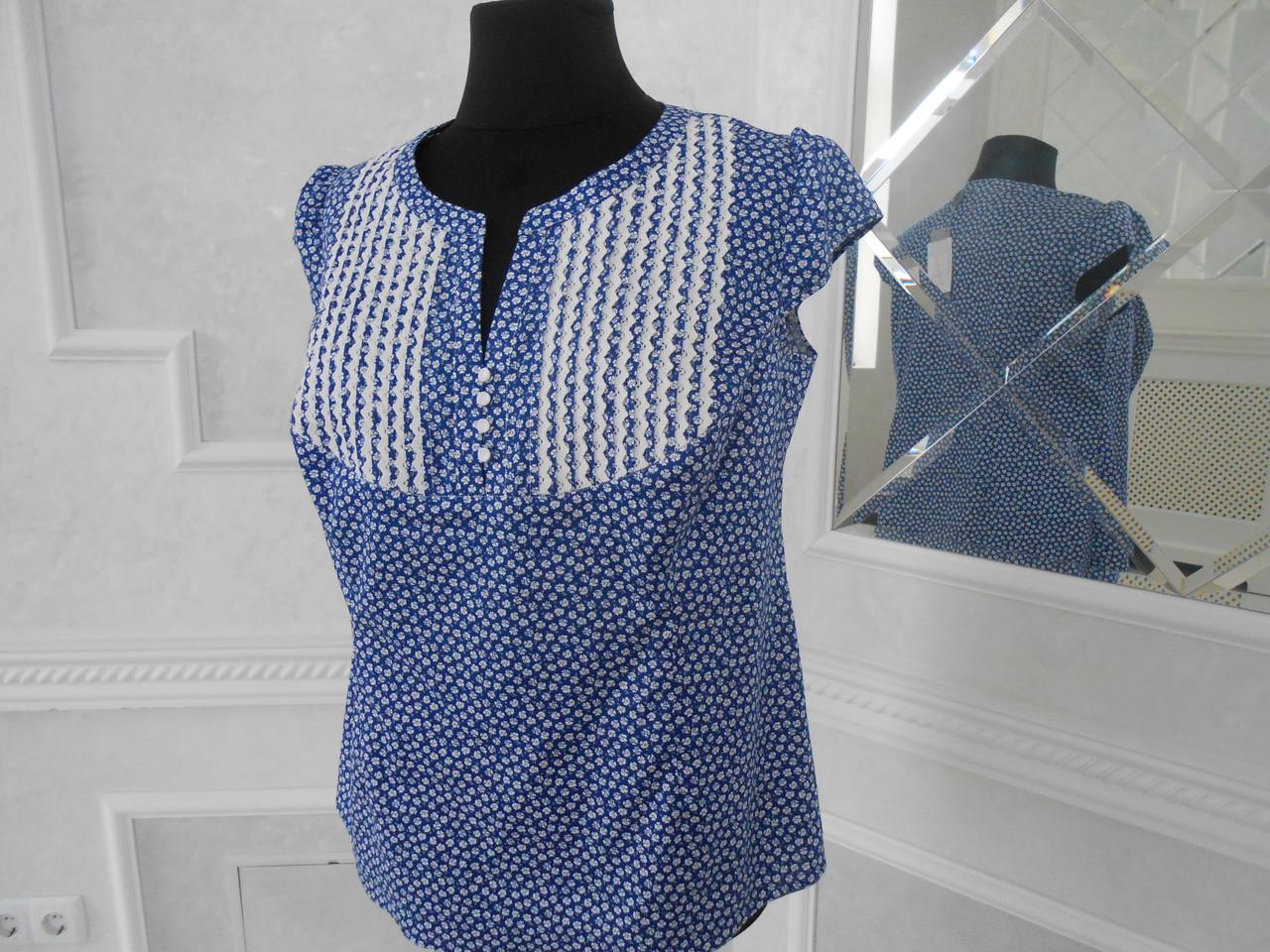 56f5eeb4648 Блуза женская хлопок в цветочек с тесьмой большого размера -