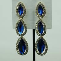 685 Эксклюзивные праздничные синие серьги- длинные серьги подвески оптом