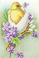 Схема для вышивания бисером ТМ Повітруля ЦЫПЛЕНОК В ФИАЛКАХ Б4 32
