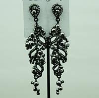 695 Праздничные серьги- черные и длинные женские серьги оптом