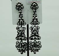 697 Эксклюзивные праздничные серьги- черные и длинные женские серьги опт