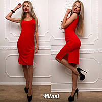 Женское платье приталенное с разрезом 5 цветов
