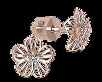 Золотые серёжки для девушек Цветочек