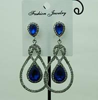 705 Серьги с синими кристаллами. Синие длинные праздничные серьги капли из крупных камней