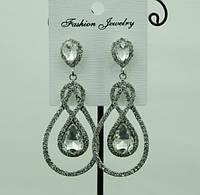 707 Серьги с белыми кристаллами. Свадебные праздничные серьги капли