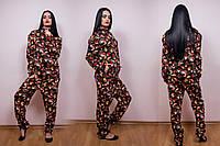Прогулочный спортивный костюм женский штаны и кофта на молнии, батал большой размер