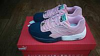 Женские+подростковые кроссовки Puma trinomic розовые с синим замша
