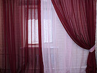 Комплект штор из шифона. Цвет бордовый с розовым 011дк