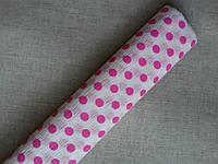 Гофрированная бумага белая в розовый горох Польша
