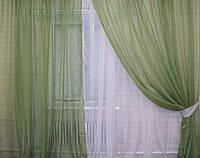 Комплект штор из шифона. Цвет оливковый с бежевым  011дк