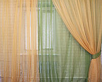 Комплект штор из шифона. Цвет оливковый с золотистым 011дк