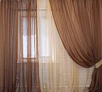 Комплект штор из шифона. Цвет коричневый с янтарным 011дк