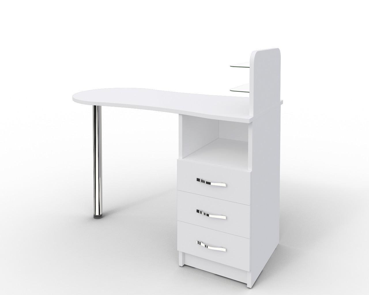 """Маникюрный стол c стеклянными полочками под лак """"Эстет  №1"""" белый"""