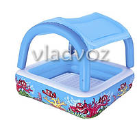 Детский надувной бассейн с навесом сьёмная крыша и надуным дном Bestway 52192