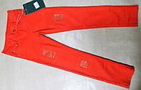 Джинсы  красные со стразами и заплатками от 4 до 14ти лет