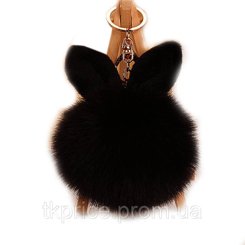 Брелок с ушками  из меха  черный