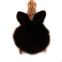 Брелок с ушками  из натурального меха  черный