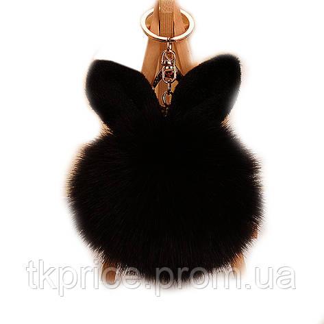 Брелок с ушками  из меха  черный, фото 2
