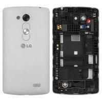 Задняя панель корпуса для мобильных телефонов LG D290 L Fino, D295 L Fino Dual, белая, с разборки, original, + средняя часть