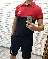 Спортивный мужской костюм летний футболка и шорты, лого Adidas