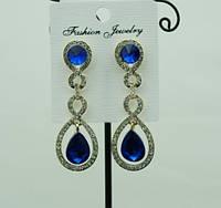 712 Нарядные синие женские серьги с синими кристаллами. Праздничные серьги капли оптом.